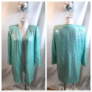 Vintage Seafoam Green Sequins Bead Jacket Blazer💞